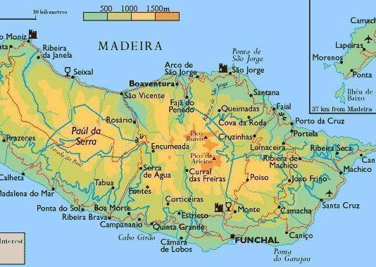 Landkarte von Madeira & Porto Santo